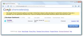 Google Chrome ekstenzije dostupne developerima