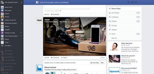 Velike slike prijatelja, različiti news feed s desne strane, bar s chatom s lijeve strane