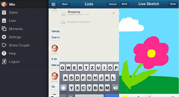 Opcije u aplikaciji, liste i moje cvjetno remek-djelo.