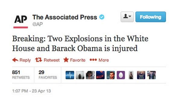 Lažni tvit koji je poslan s hakiranog profila The Associated Pressa (izvor: BuzzFeed)