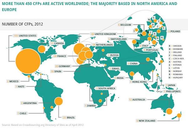 Massolution izvještaj travanj 2012: Broj crowdfunding platformi u svijetu