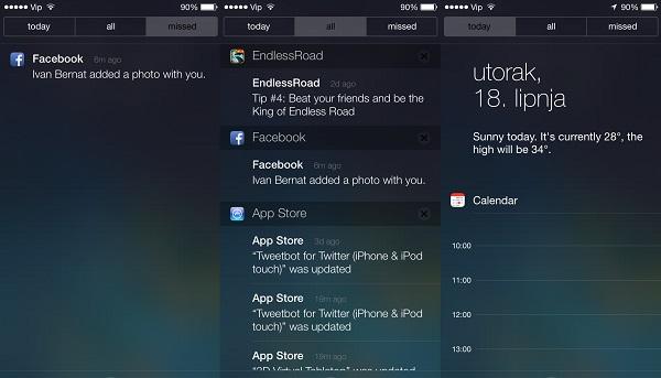 Propušteni notificationi su sada izdvojeni u svoju kategoriju. Svi notificationi i obavijesti o automatski nadograđenim aplikacijama. Notification centar sa sumnjivo praznim kalendarom.