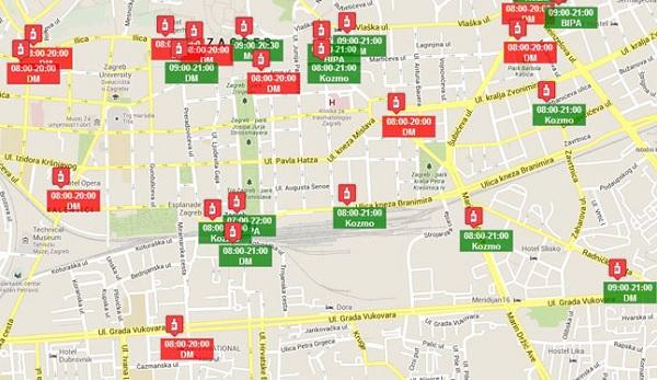 Openoy prikazuje lokaciju korisnika, traženih objekata i njihovo radno vrijeme.