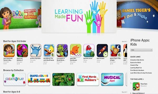Na dječjem dijelu App Storea aplikacije će morati poštivati propise o zaštiti djece na intenetu (slika preuzeta s techcrunch.com)