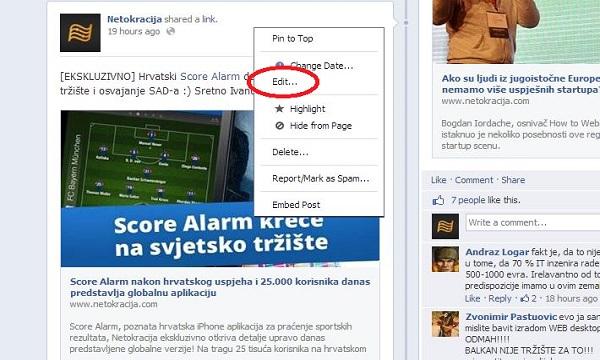 Facebook je jučer omogućio naknadno uređivanje statusa