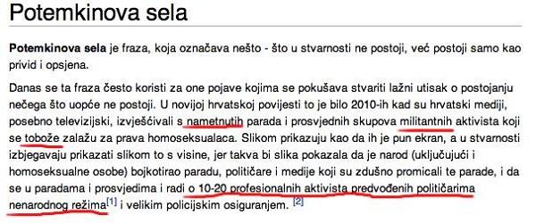"""Potraži li neki školarac uobičajen izraz poput """"Potemkinovih sela"""", mogao bi ostati uvjeren da je Potemkin usko povezan s  LGBT aktivizmom (izvor: Facebook grupa razotkrivanje sramotne hrvatske Wikipedije)"""