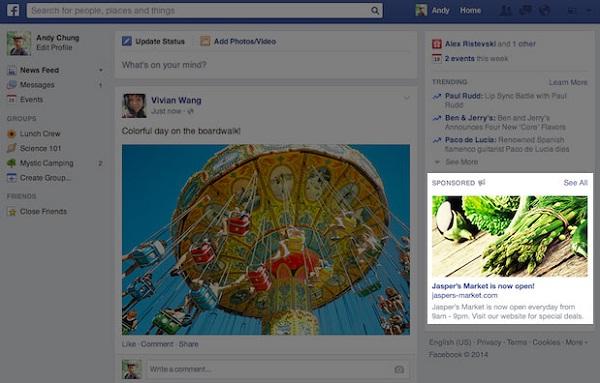 Novi format Facebook oglasa u desnoj kolumni (Izvor: Facebook)