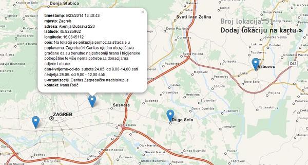 Na karti u sklopu servisa poplave.hr mogu se pronaći lokacije za dostavljanje pomoći stradalima u poplavama.