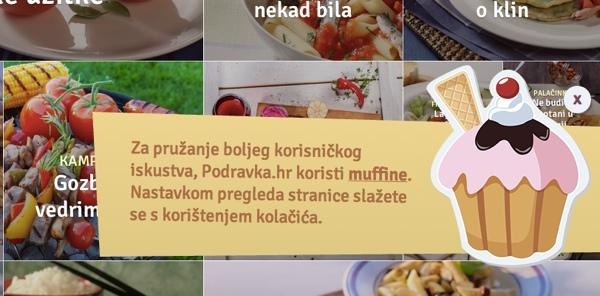 """Umjesto """"cookijea"""" Podravka.hr koristi muffine,  što je samo jedan od načina na koji se željelo približiti ciljanoj skupini."""