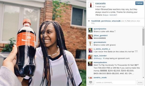 Colina Share a Coke kampanja na instagramu.