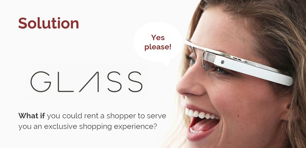 """Google Glass, ključni dio usluge, omogućuje kupcu da gleda kroz """"oči"""" asistenta."""