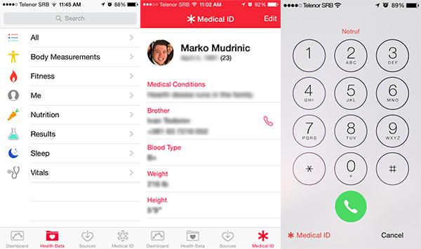 """U okviru """"Health"""" aplikacije, nalazi se i sekcija """"Medical ID"""" u koju korisnici mogu uneti hitan kontakt"""