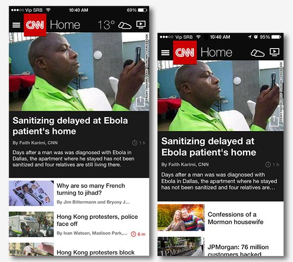"""CNN aplikacija prva je koja je ažurirana da iskoristi veći ekran. Postoji i """"landscape"""" opcija, a proizvođači će konačno moći da stave više informacija na naše dlanove."""