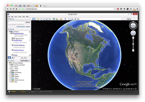 Direktno iz browsera, pristupio sam servisu Google Maps kojeg je pokretao kompjuter udaljen 10.000 kilometara.