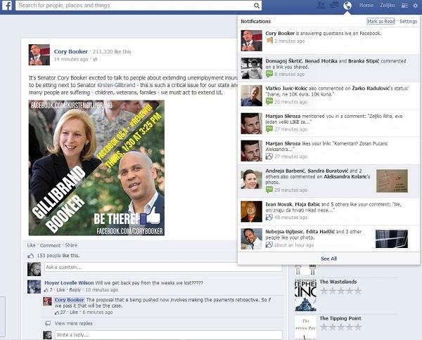 Cory Booker organizirao je razgovor uživo s fanovima na Facebooku.