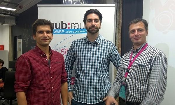 Startup Amodo, proizašao iz Studija Revolucija, 2014. je sudjelovao u hub:raumovom programu Warp  (na slici: Vladimir Končar, Gorjan Agačević i Goran Radovančević)
