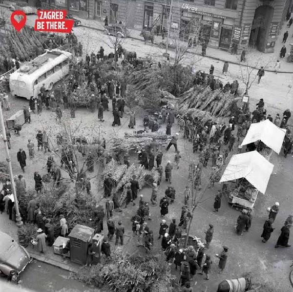 Na Preradovićev trg stigle jelke, 1942. godine (Hrvatski povijesni muzej)