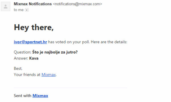 Mixmax Poll odgovor