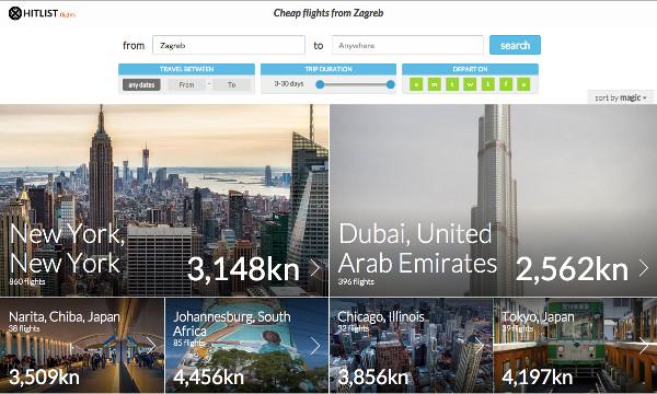 Web sučelje omogućava pretraživanje letova s neke destinacije s prepoznatljivim vizualnim identitetom Hitlista