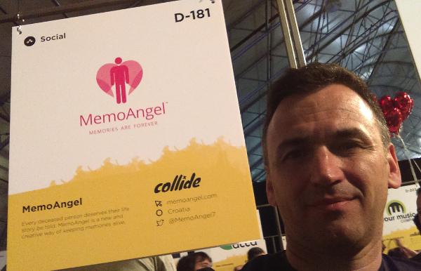 Roberto Srpak, osnivač MemoAngela, na štandu u sklopu Collisiona.