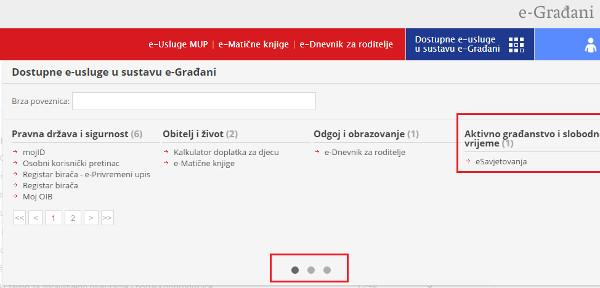 Navigacija e-usluga je složena u vidu carussela i izlazi izvan okvira stranice, što otežava snalaženje.