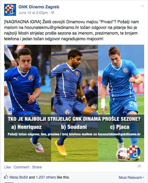 Dinamo i kviz na Facebooku