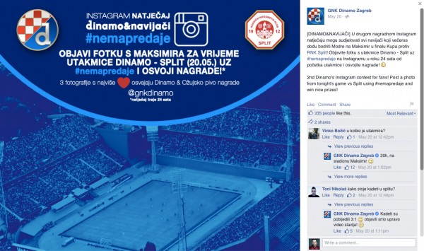 Dinamo - vizuali i dobra komunikacija na Instagramu