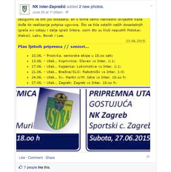 Inter Zaprešić - loša komunikacija na Facebooku 2