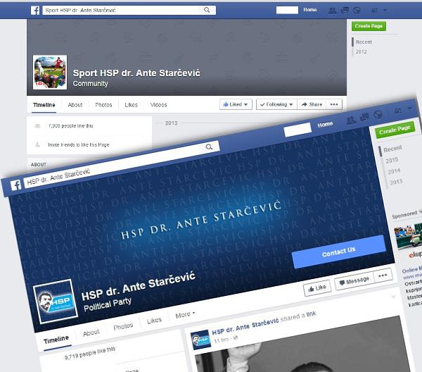 Facebook stranica HSP dr. Ante Starčević povećala je broj fanova spajajući se s nekim postojećim stranicama, kao što je bila, sad već nepostojeća, Sport HSP dr Ante Starčević