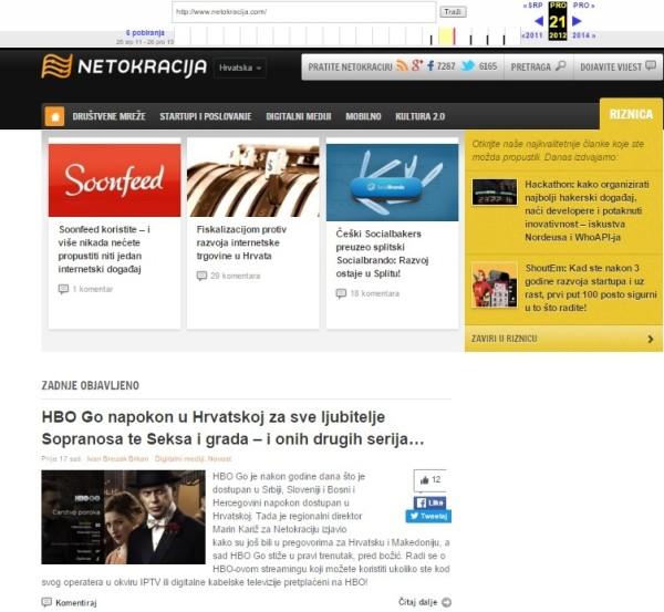'Harvestiranje' weba: Kako je Netokracija izgleda 26. srpnja 2011. godine?
