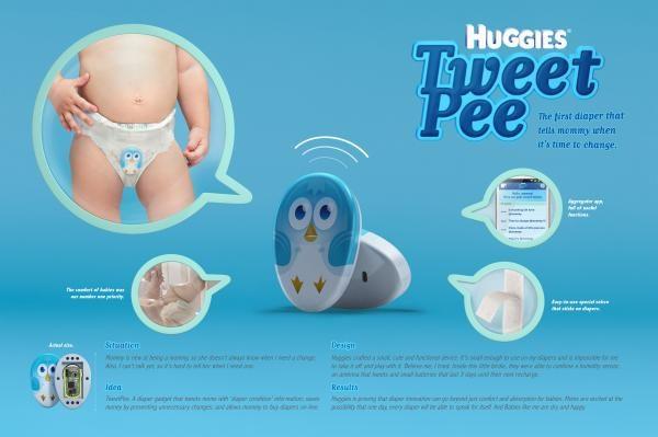 TweetPee je senzor s likom ptičice koji roditeljima šalje tweet kada je vrijeme za presvlačenje bebe.