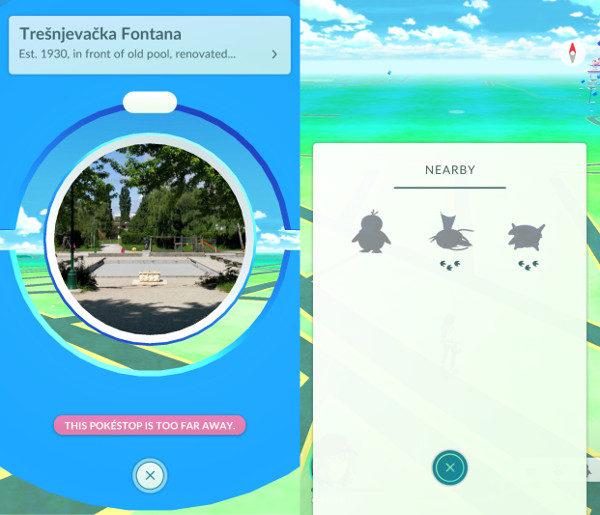 Primjer Pokéstajališta. Desno vidimo Pokémone koji su u blizini. Što manje šapica, to je Pokémon bliže.