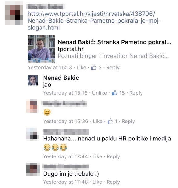 Nakon što je status Nenada Bakića završio u medijima, postavke privatnosti posta su promijenjene tako da ga mogu vidjeti samo njegovi prijatelji.