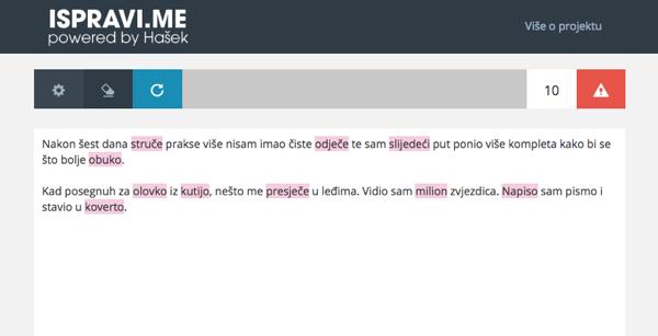 Primjer teksta kojim se dokazuje prednost Hašeka, odnosno Ispravi.me, nad uslugom koju, primjerice, nudi Word.