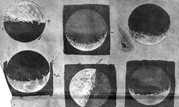 Među autorima i djelima koji su poslužili kao nadahnuće su i Galilejevi crteži Mjeseca.