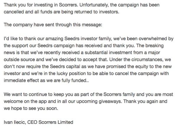 Obavijest mailom koju su dobili ulagači.