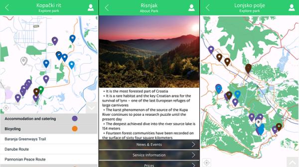 Na interaktivnoj karti možete pretraživati biciklističke i poučne stazi, tražiti atrakcije.