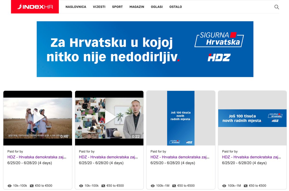 """Analiza: HDZ odabrao """"tepih-bombardiranje"""" taktiku oglašavanja, Most dominira Facebook videima"""